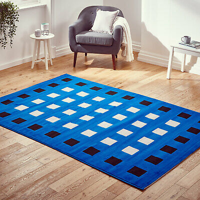 Modern Clearance Sale Budget Small Extra Large Runner Blue Boxes Cheap Alpha Rug