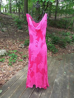 ECI NEW YORK Fuchsia Pink GOWN, Sleeveless Chiffon Cowl Neck Floral Beaded Dress