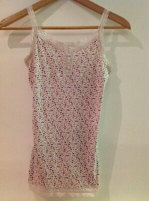 Mossimo Supply Co Girls Lace Edge Pink Floral Tank/Cami Camisole Top Sz Large