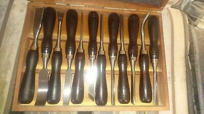 set of 12 wood carving chisels in wooden box