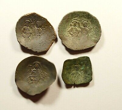 Lot Of 4 Ancient Byzantine Cup Coins - Nice Detail