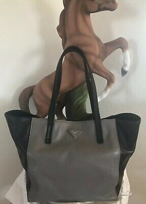6c50e0cc1b35 Authentic Prada Soft Calf Bicolor Tote Handbag - Gray/black- Pristine  Condition