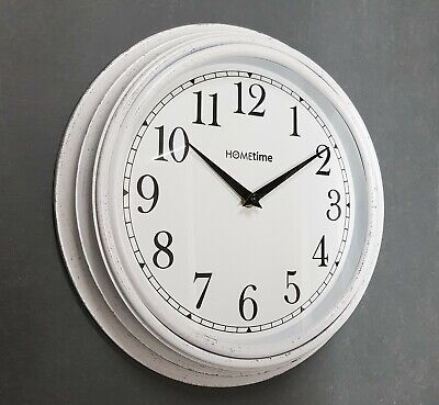 Hometime Wall Kitchen Clock Deep Case White Vintage Style Clock