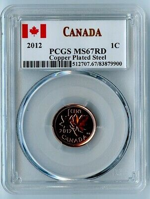 2012 Canada Pcgs Ms67 Rd Copper Plated Steel One Cent 1C! Last Year Of Issue!
