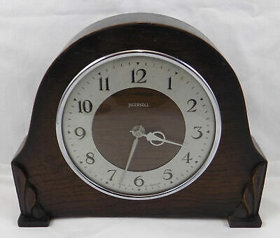 Small Vintage Ingersoll Mantel Or Table Clock In Oak Case - Full Working Order