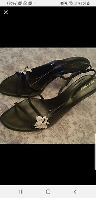 63d59102301 KATE SPADE Black Satin Bow Slingback High Heel Open Toe Sandals Size11 B