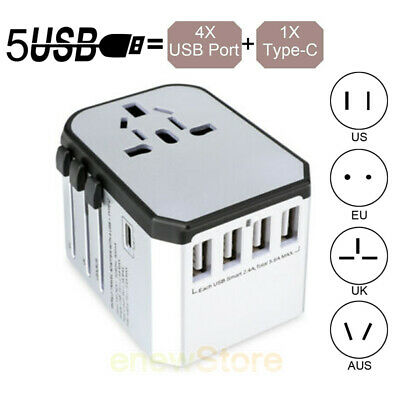 Universal Travel Adapter Wall Charger AC Power Converter Outlet Plug US UK AU EU