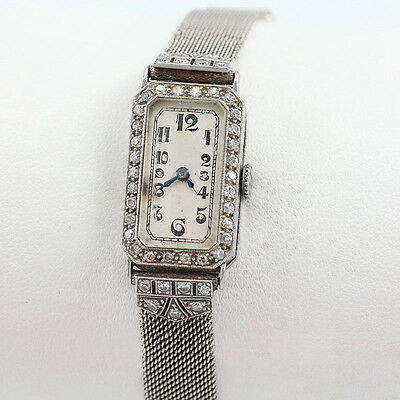 Antique J Lafond Inc. Platinum Art Deco Ladies .65 TCW Diamond Wristwatch