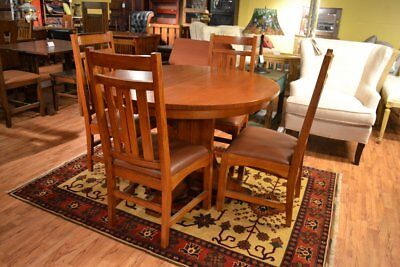 Solid Oak Round Dining Table with 2 Leaves and 4 Chairs