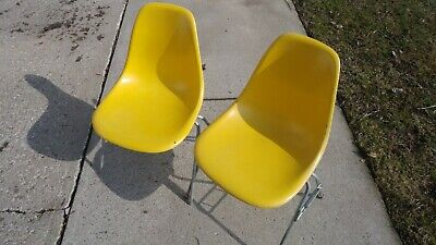 Original Vintage Yellow Eames Herman Miller Dss Side Chair Fibreglass Seat Shell