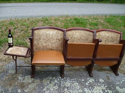 Antique French, Row Of Three Theatre Seats + Fold Down Usherette Seat, In Velvet