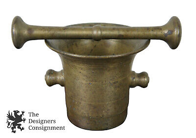 Large Antique Bronze Mortar & Pestle Set Apothecary Pharmacy Medical Herbal #8