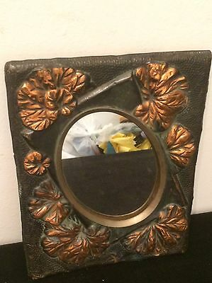 Mirror Frame Copper Stamped and Embossed  Vintage Art Nouveau Style