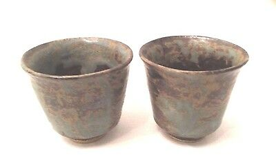 CUPS Arts & Crafts 2 Antique Small Pottery Cups Signed J F