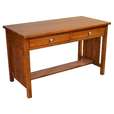 Mission Oak Library Table with spindles, Mission style Desk made of solid Oak