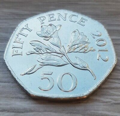 🇬🇬 Bailiwick of Guernsey 🇬🇬 Fifty Pence 2008 Rare Uncirculated 50p Coin ⚘