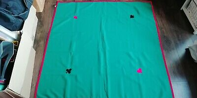 brand new card table cover in green with red trim
