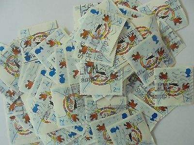 80 x  2nd Class  Robin with  Snowman Stamps - 2001 -Used - Franked - Off Paper