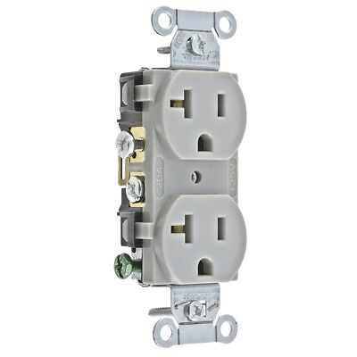 (K) Hubbell Duplex Receptacle CR20GRY (Gray) Box Of 10