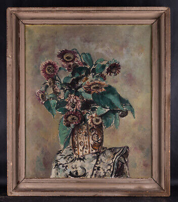 """Early 20th Century Post Impressionist Still Life Oil On Canvas """"Flower In Vase"""""""