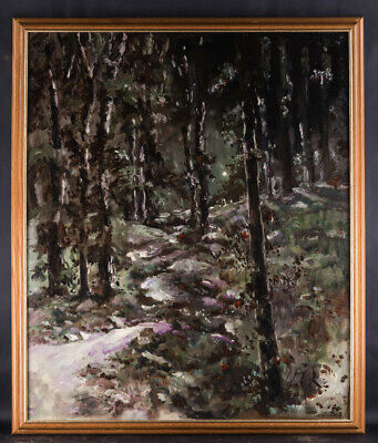 "Large Vintage Post-Impressionist Oil Painting ""Path In Black Forest"" Signed"
