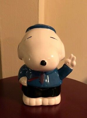 HTF Asian Snoopy Ceramic Bank Charlie Brown Peanuts Piggy Bank Hand painted 6.5""