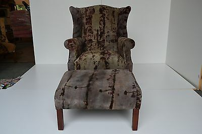Italian leather Wingback Chair with Ottoman Pillows Hand dyed Gray Black Suede