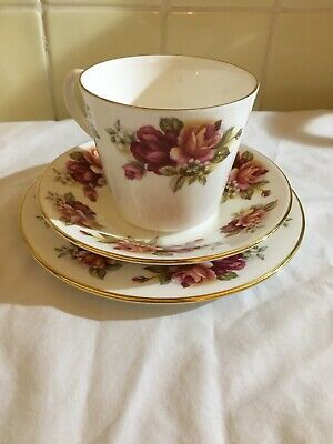 Vintage Antique Queen Anne Fine Bone China Trio Teacup & Saucer And Side Plate