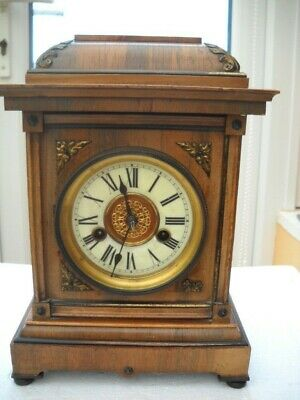 Walnut & Mahogany German Mantel Clock By H.a.c. In G.w.o.