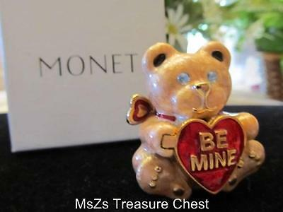 "MONET ""BE MINE"" Bear Collectable Enamel Keepsake Trinket Box  ** IN ORIG BOX **"