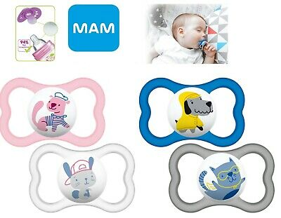 Mam Baby Soother Dummy Pacifier Teat Nipple 6m+ 2 Pack Boy / Girl Air