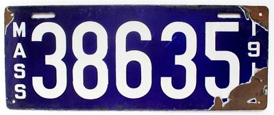 Massachusetts 1913 Porcelain License Plate, 38635, Antique, Garage Sign