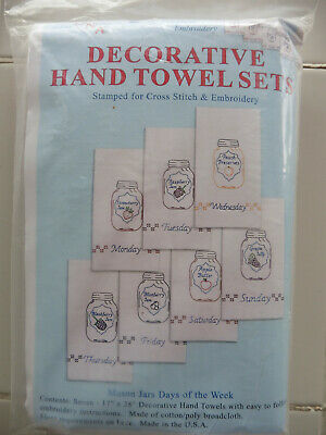 STAMPED WHITE DECORATIVE Hand Towels 15