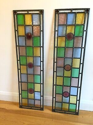 Stained Glass Panels, Pair, Leaded Glass, Hand Made, Unused