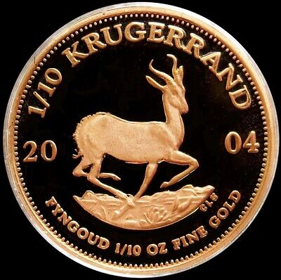 2004 Gold South Africa Proof 1/10 Oz Krugerrand Coin In Mint Capsule