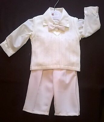 baby Christening suit trousers, shirt, top, tie, ivory holidays Kinder 6-12 m