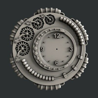 3d STL models for CNC, Artcam, Aspire, relief clock 9