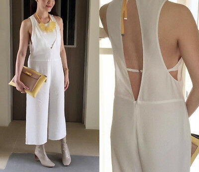 Zara Off White Cropped Open Back Jumpsuit Size M