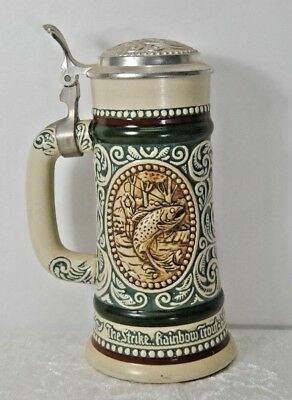 Vintage 1978 Avon Beer Stein.The Strike Rainbow Trout/At Point English Setter