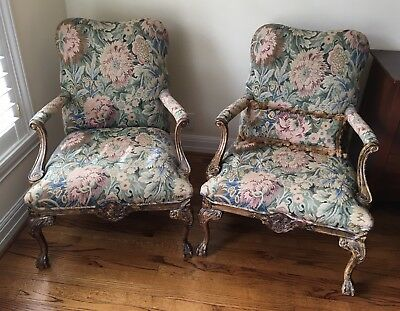 Fine Pair of French Fauteuil Open Arm Chairs, Brocade Fabric, Good Condition