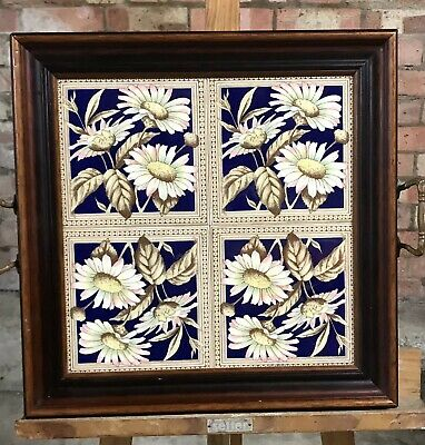 Wonderful Late 19th/early 20th Century Tray With Ceramic Tiles & Brass Handles