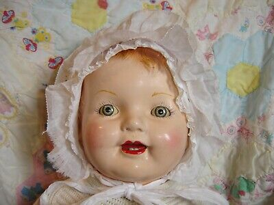"""25"""" Vintage Antique Composition Ma Ma doll dress bloomers slip booties hat bib"""
