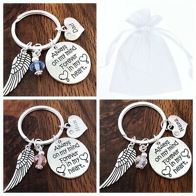 In Loving Memory Gift, Always On My Mind Keyring Mum, Dad, Daughter,Son