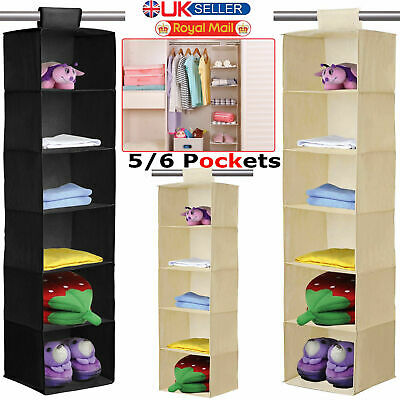 6 5 Section Canvas Fabric Wardrobe Clothes Hanging Rail Shelves Storage Cupboard