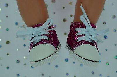 """Dolls Shoes For 17""""Baby Born~18""""American Girl HOT PINK SEQUIN RUNNERS"""