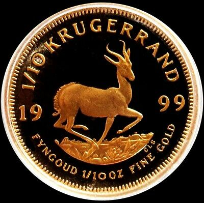 1999 Gold South Africa Proof 1/10 Oz Krugerrand Coin In Mint Capsule
