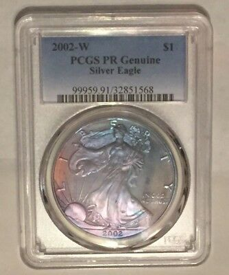 2002-W American Silver Eagle PCGS PR Genuine : Rainbow Tones Purple,PInk & Blue