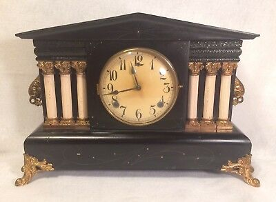 Antique Mantle Clock Movement Pat April 4 1896 Back Marked C. WBR 6/4/36
