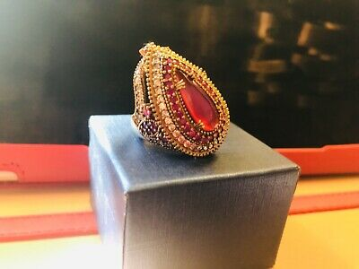 Turkish Victorian Style Ruby Ring set in 925 Sterling and Bronze. OVER 46 RUBIES