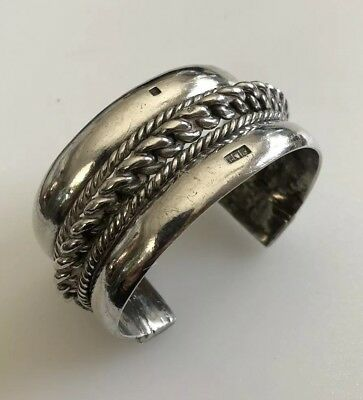 Large Antique Wide Egyptian Sterling Silver Cuff Bracelet Ornate 134 Grams